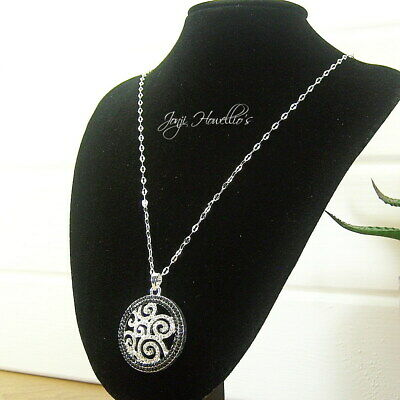 Equilibrium Silver Plated Necklace With Circle Of Poppy Pendant Jewellery 279400