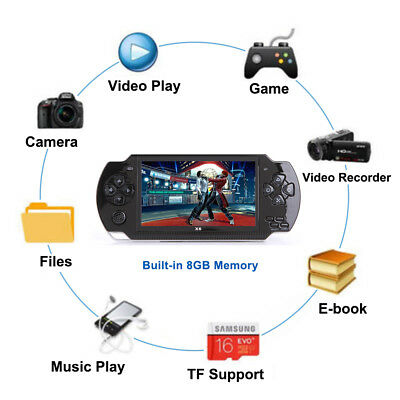 """64 Bit 4.3"""" PSP Portable Handheld Game 8GB Console Player 10000+Games +Camera 10"""