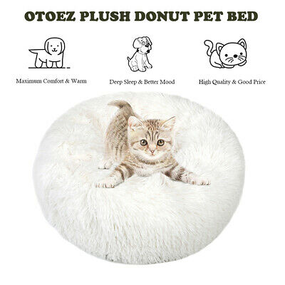 Donut Plush Pet Dog Cat Bed Fluffy Soft Warm Calming Bed Sleeping Kennel Nest 7