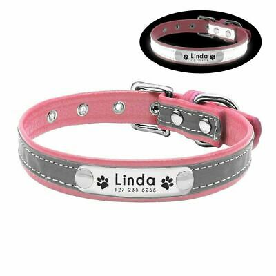Personalised Soft Reflective Leather Dog Collar Custom Name ID Tags Pet Cat 8