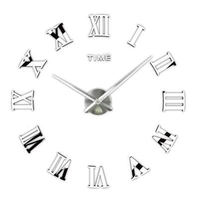 DIY 3D Wall Clock Roman Numerals Large Mirrors Surface Luxury Big Art Clock 8