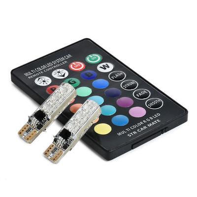 2pcs T10 W5W 5050 RGB Remote Control Car LED Light 6SMD Colorful Side Light Bulb 6