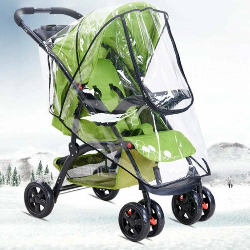 Universal Baby Pushchair Stroller Raincover Clear Rain Cover Pram Buggy w Window 12