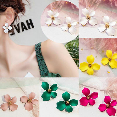 Fashion Boho Painting Big Flowers Ear Stud Earrings Women Charm Jewelry Gifts 2