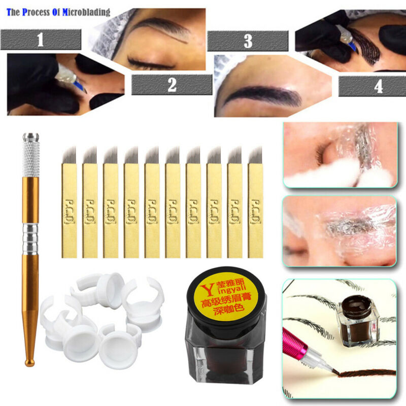 One Set Microblading Permanent 3D Makeup Eyebrow Tattoo Needle Pen Pigment Kit~ 3