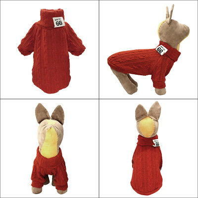 Knitted Dog Sweater Chihuahua Clothes Winter Knitwear Pet Puppy Jumper Red Black 12