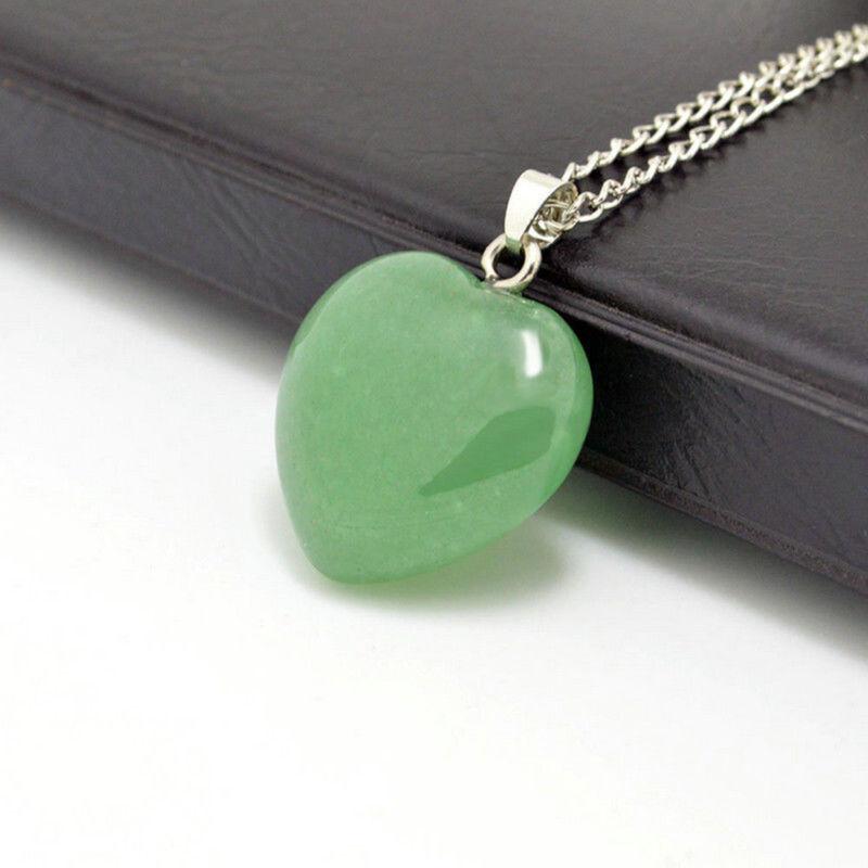 Natural Quartz Stone Gemstone Heart Rock Healing Point Chakra Pendant Necklace 5