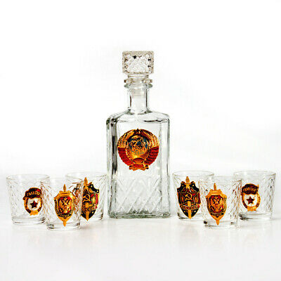 6 Shot Glasses and Glass Decanter w/ USSR Soviet Coat of Arms GIFT SET FOR MEN 2