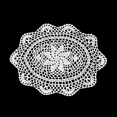 "4Pcs/Lot White Cotton Lace Vintage Hand Crochet Doilies Oval Placemats 10""x13"" 5"