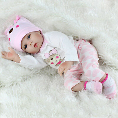22'' Realistic Newborn Girl Silicone Vinyl Reborn Baby Dolls Handmade Xmas Gift 3