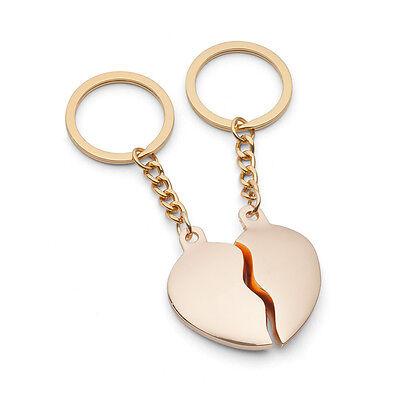 Geteiltes Herz GOLD Schlüsselanhänger Gravur Hochzeit Valentinstag Love Geschenk
