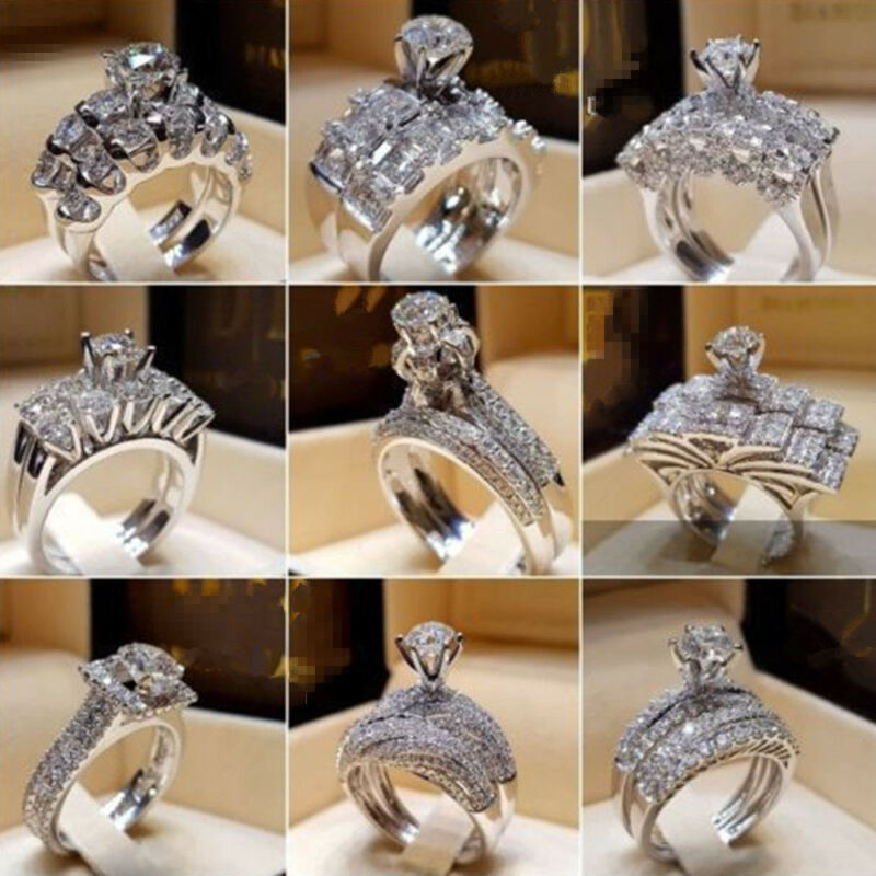 Women Engagement Wedding Ring Crystal Rhinestone White Gold Plated Rings Jewelry 4