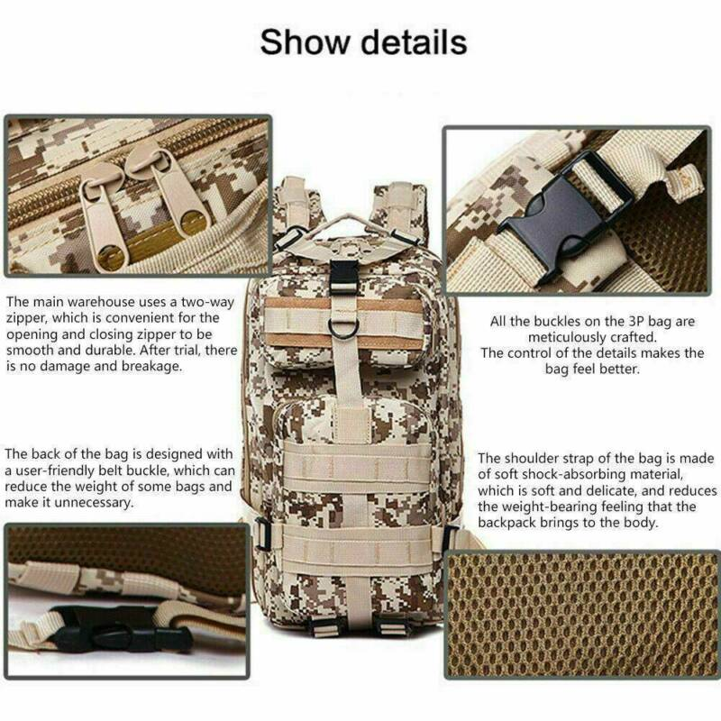 30L/40L/50L Military Tactical Army Rucksacks Molle Backpack Camping Hiking Bag 10