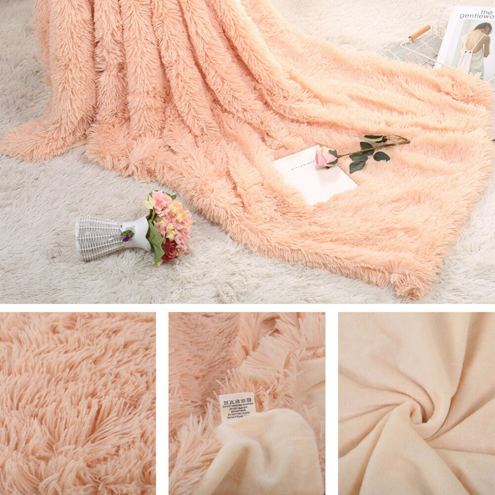 Faux Fur Blanket Long Pile Throw Sofa Bed Super Soft Warm Shaggy Cover Luxury 5