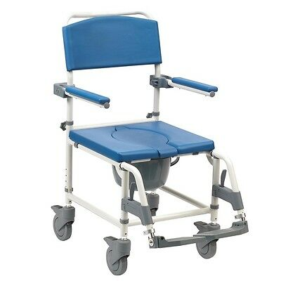 Aston Mobile wheeled shower commode chair footrests + brakes transit self propel 4