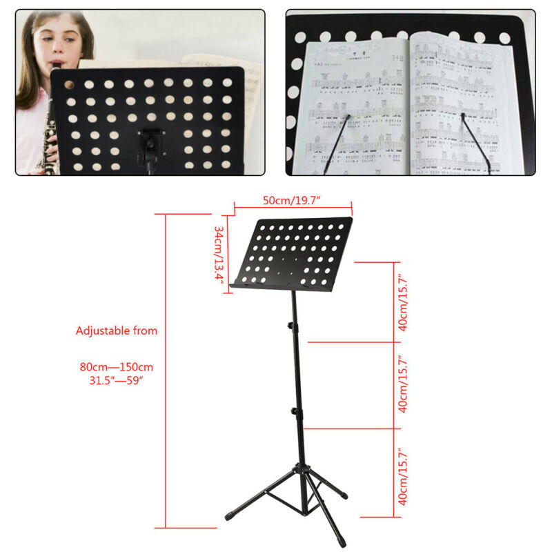 Heavy Duty Orchestral Sheet Music Conductor Stand Holder Tripod Base Foldable 3