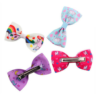 1/5/10Pcs Cartoon Unicorn Bow Hair Clips Hair Pin Kid Baby Girl Hair Accessory 5