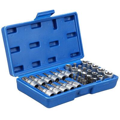 34pcs Coffret douilles clés intérieur embout étoile torx Femelle outils Portable 3