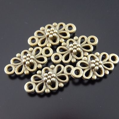 30X Vintage Style Bronze Tone Flower Hollow 10*8*2mm Pendant Charms Findings 5