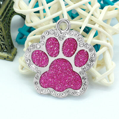 Personalized Dog Tags Engraved Puppy Pet ID Name Collar Tag Bling Paw Glitter 7