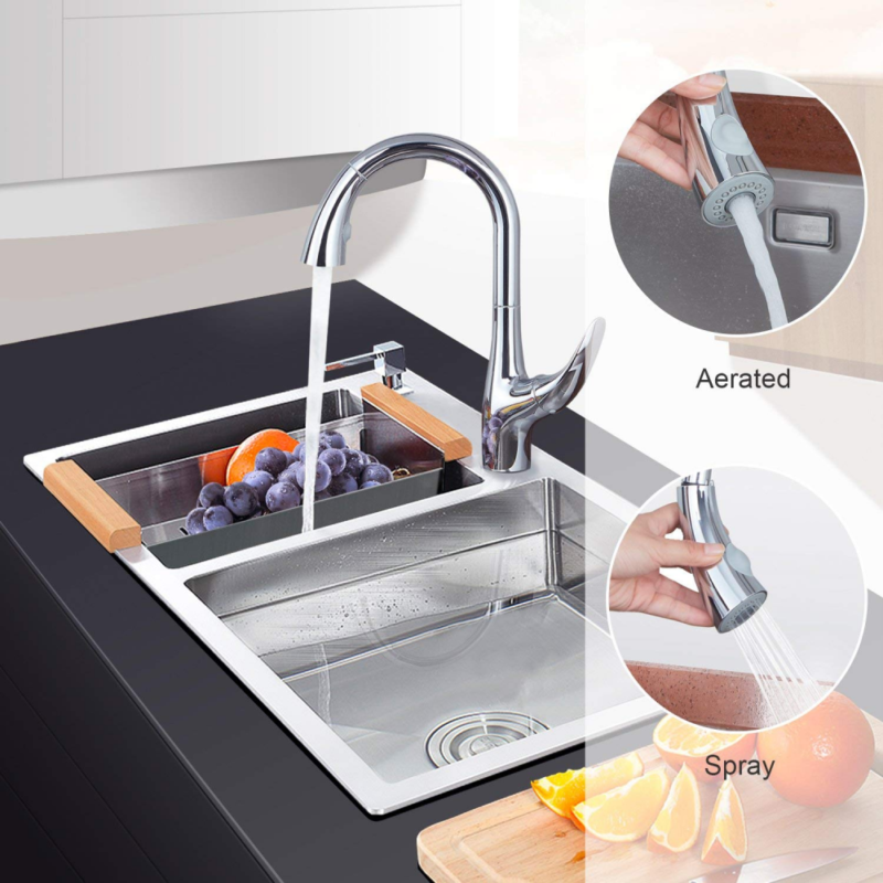 Kitchen Faucet Single-Handle Pull-Down Chrome - Sink Dual Functions Sprayer NEW