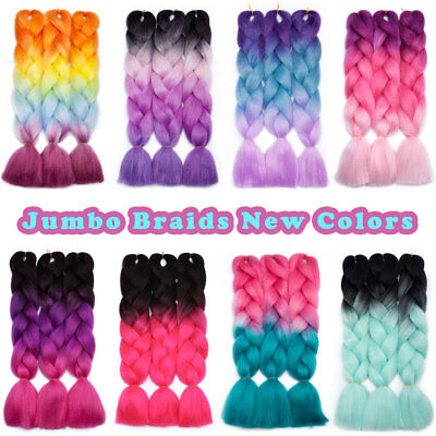 "5 Bundles 24"" 100g Ombre Xpression Jumbo Braiding Afro Hair Extensions as human 8"