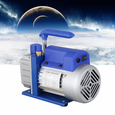 Single Stage Vacuum Pump Rotary Vane 2.5CFM 1/4HP Deep HVAC AC Air Tool Blue New 4