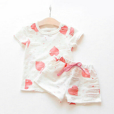 2PCS Kids Toddler Baby Girls T-Shirt Tops+Shorts Pants Tracksuit Outfits Clothes 6