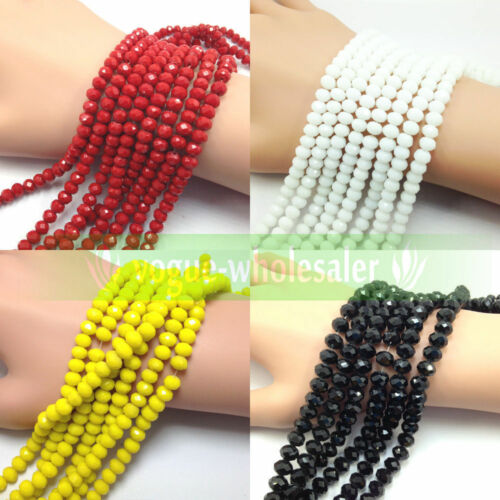 Lots Wholesale Rondelle Faceted Crystal Glass Loose Spacer Beads 3/4/6/8/10mm 2