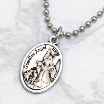"Patron Saint St Michael The Archangel 1"" Medal Pendant Necklace 24"" Chain Italy 7"