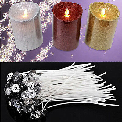 Pack 100 Pre Waxed Candle Wicks For Candle Making With Sustainers - 12cm Long 2