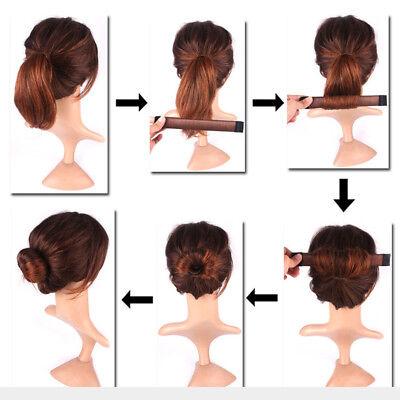 Women's Magic Hair Bun Snap Styling Donut Former French Twist Band Maker Tool AU 9