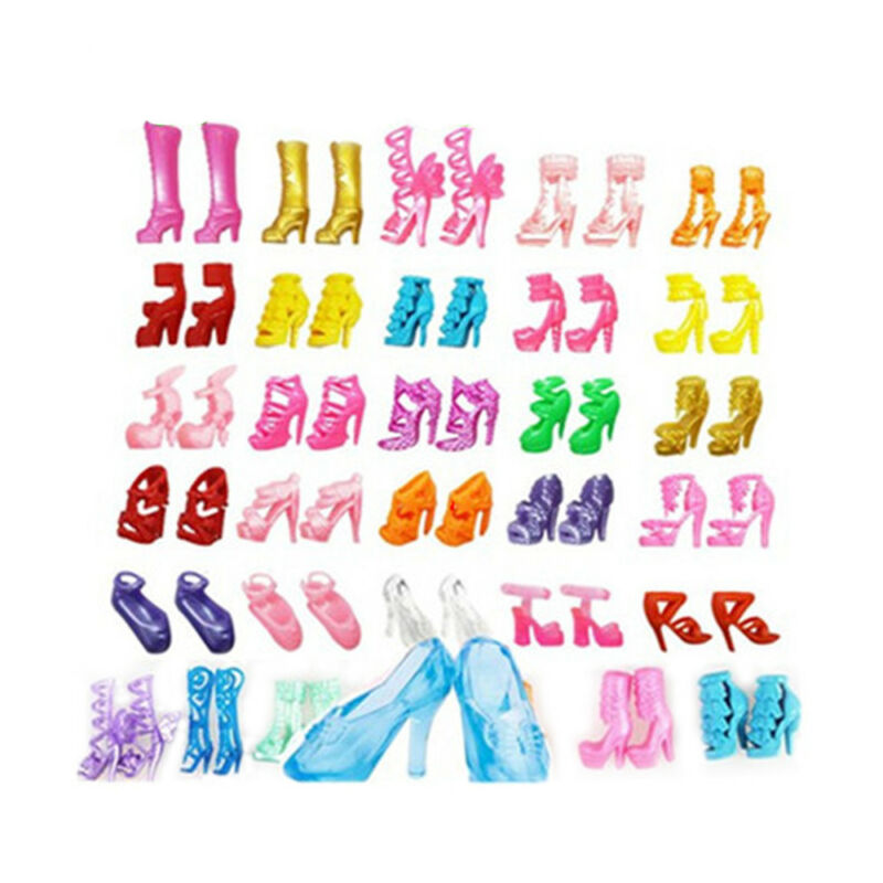 new 80pc 40 Pairs Different High Heel Shoes Boots Doll Dresses Clothes 2