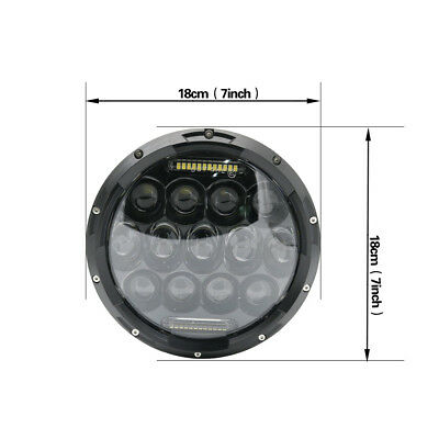 "Pair 7"" INCH 75W LED Headlight Hi/Lo Beam DRL Fit Jeep Wrangler CJ JK LJ Camaro 11"
