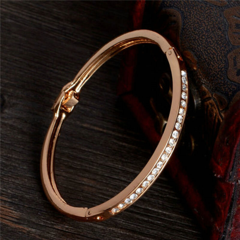 Exquisite Gold-plated Stainless Steel Women Cuff Bangle Jewelry Crystal Bracelet 3