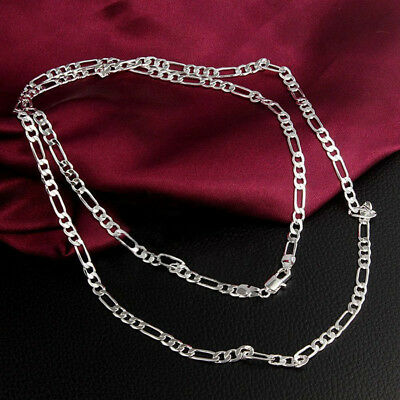 """2mm Women Men 16-30"""" Stainless Steel Figaro Link Curb Chain Necklace Jewelry 3"""