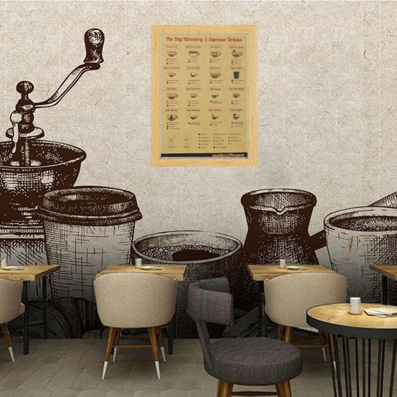 Coffee Bar Decoration Kraft Paper Retro Poster Vintage Picture Wall Sticker 5