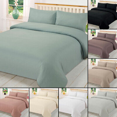 Plain Dyed Duvet Cover Quilt Bedding Set With Pillowcase Single Double King Size 3