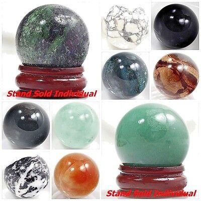Gemstones 30mm Round Ball Crystal Healing sphere Massage Rock Stone Stand Chakra 2