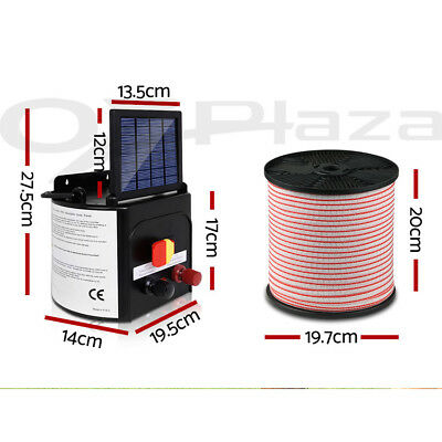 Giantz 5km Solar Electric Fence Energiser Energizer Charger 0.15J Farm Poly Tape 9
