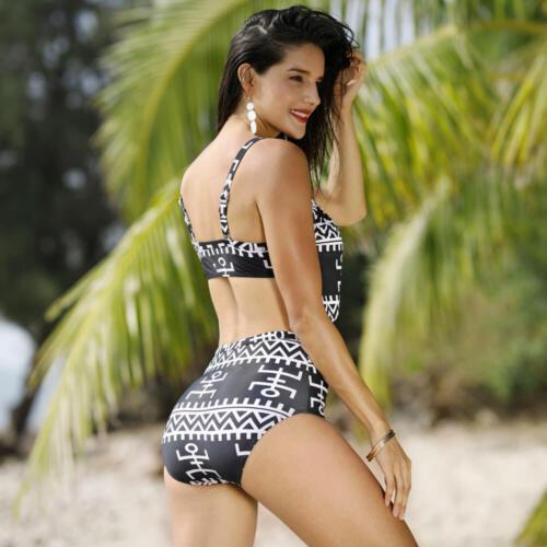 4439a23f54 Bikini 2019 Maillot de Bain Femme Rétro Sexy Taille Haute Swimwear Grande  Taille 5 5 sur 12 ...