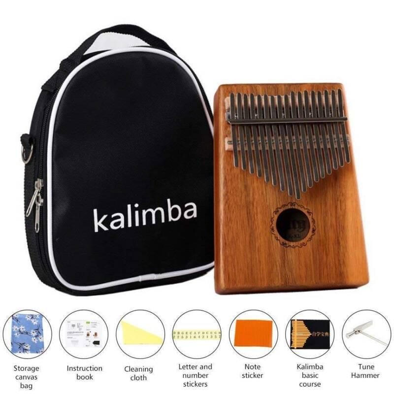 17-key Kalimba Portable Thumb Piano Mbira Mahogany Wood w/Carry Bag Set Durable 2