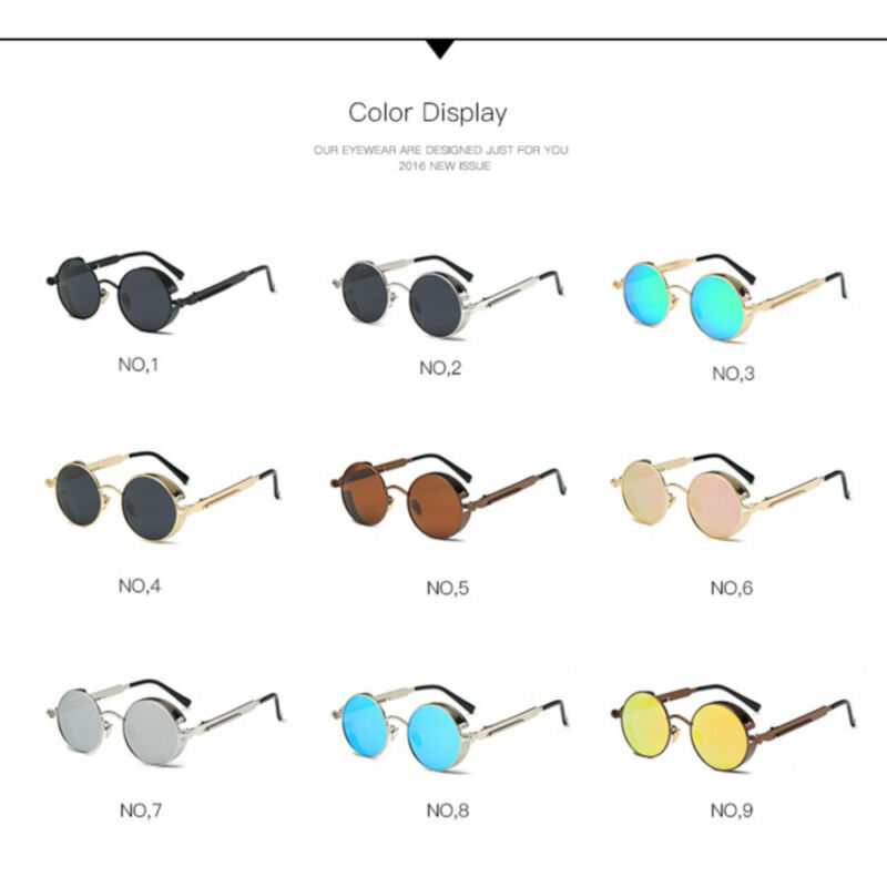 3282878244 Vintage Steampunk Sunglasses Polarized Men Fashion Round Mirrored Retro  Eyewear 4 4 of 12 ...