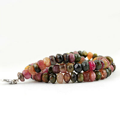 249.00 Cts Natural Untreated Watermelon Tourmaline Round Shape Beads Necklace 2