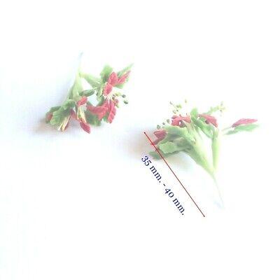 6 Clay Dollhouse Miniature Poinsettia Flowers,Christmas Plants,Christmas Decor 6