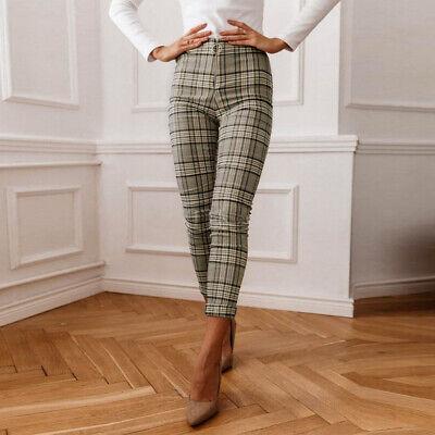 Elegant Women Office Pants Plaid Skinny Leggings High Waist Black White Trousers