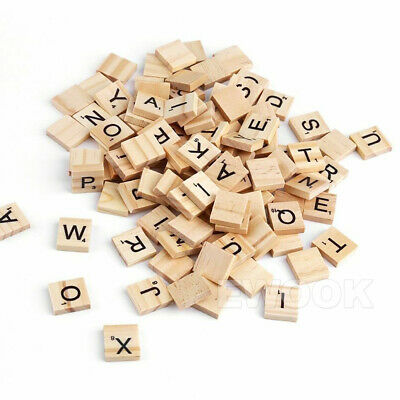 200PCS Wooden Alphabet Scrabble Tiles Black Letters & Numbers For Crafts Wood 8