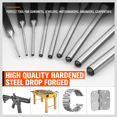 9pc Forged Steel Roll Pin Punch Set in Roll Up Case Rifle Gunsmithing Jewelers