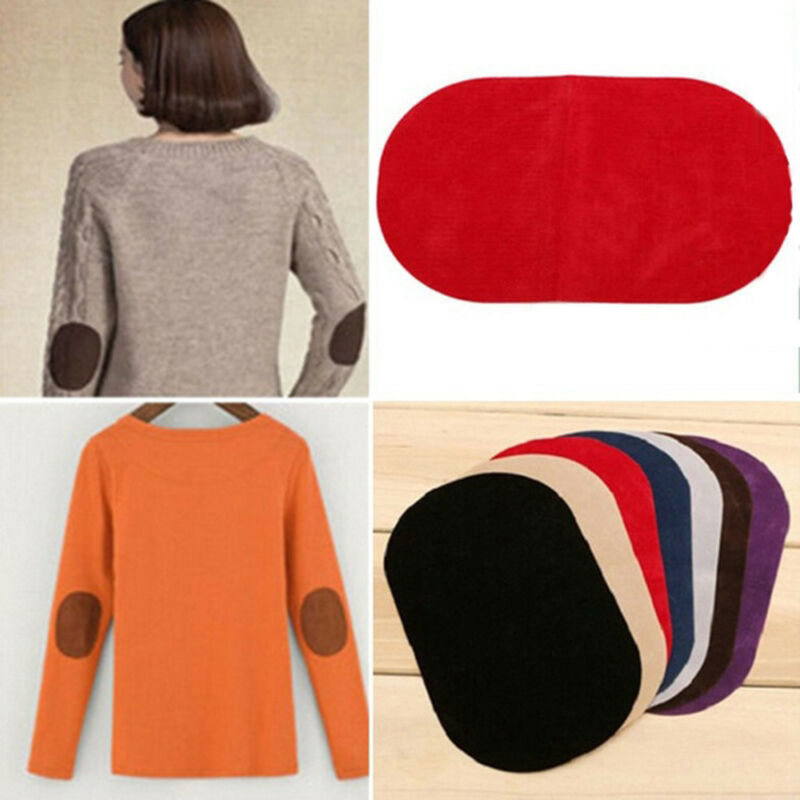 2Pcs Iron-on Oval Flocking Clothes Repair Sewing Elbow Patches 6