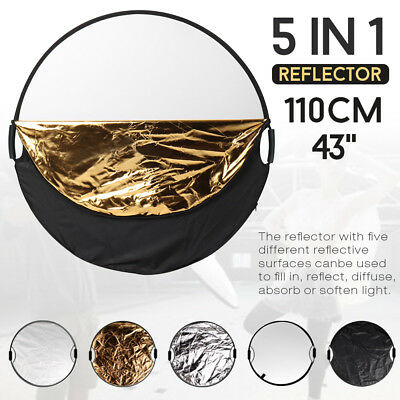 110CM 5in1 STUDIO PHOTOGRAPHY PHOTO COLLAPSIBLE LIGHT REFLECTOR & HANDLE GRIP AU 4